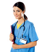 Beautiful lady doctor with stethoscope — Stock Photo
