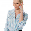 Close-up of a businesswoman talking on phone — Stock Photo