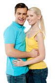 Portrait of girlfriend boyfriend hugging each other — Stock Photo