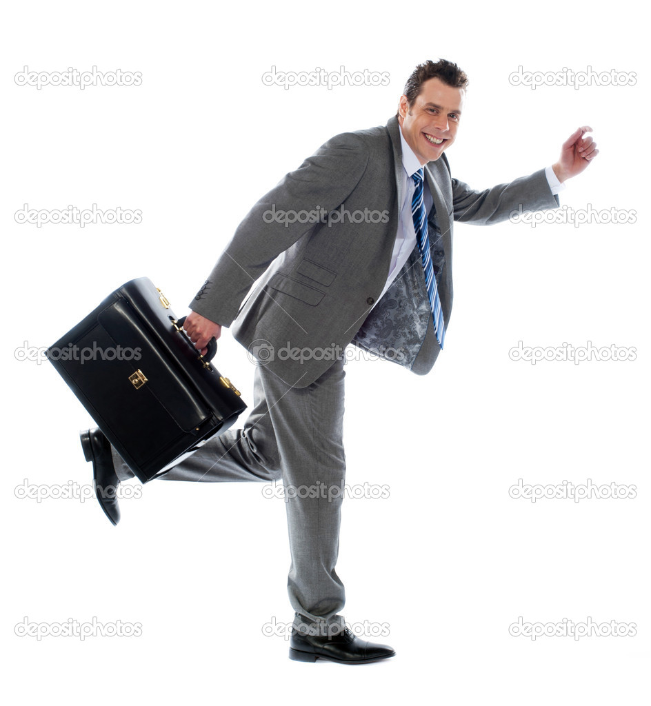 Full length portrait of a businessman running away against white background — Stock Photo #9914993