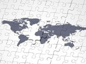 Blue puzzle earth map concept — Stock Photo