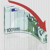 Euro go down — Foto Stock