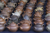 Teapots market — Stock Photo