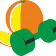 Orange and dumbbell — Stock Vector