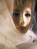 Woman in white shawl beautiful — Stock Photo