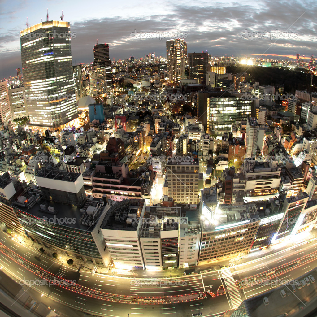 Illuminated skyscrapers and high-rise buildings in Japan's capital Tokyo during dusk — Stock Photo #9620099