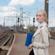 Girl waiting for the train — Stock Photo #10455287