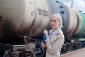 Girl with motion train — Stock Photo