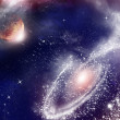 Stock Photo: Universe with planet and stars