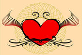 Serce z kwiatowymi elementami — Wektor stockowy