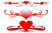 Elementos de diseño con corazones — Vector de stock