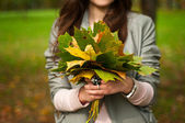 Girl with a bouquet of autumn leaves — Stock Photo