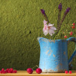 Stock Photo: Still life with a can with flowers, cherries and red ber
