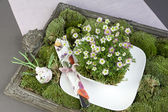 Green decoration with moss, flowers and tableware — Stock Photo