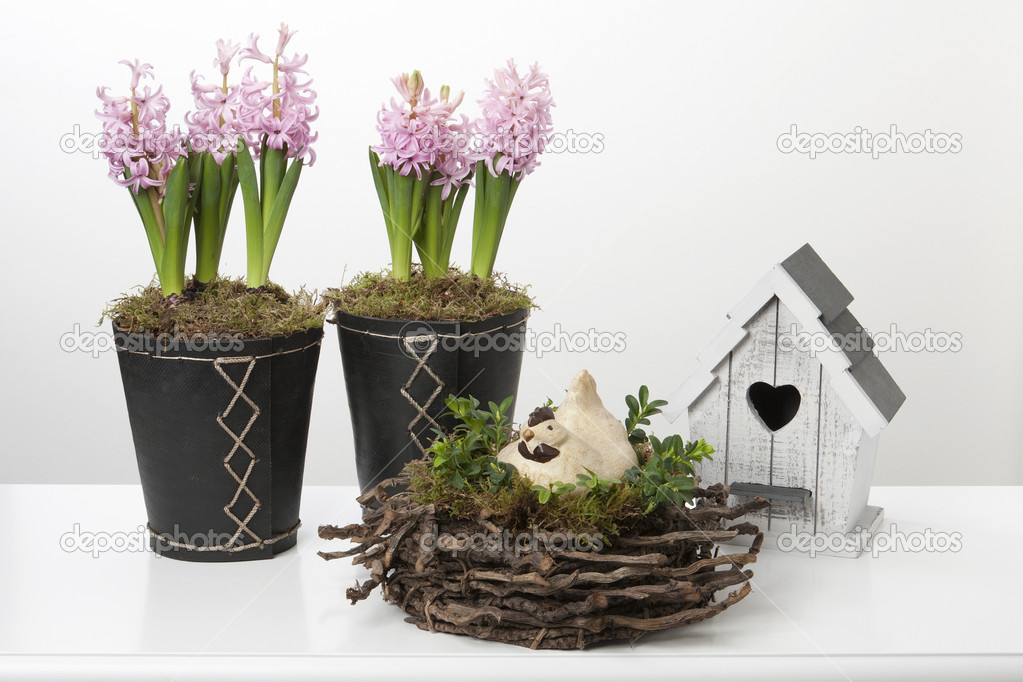 Spring decoration with hyacinths, a birdhouse and a chicken on a nest  Stock Photo #9741202
