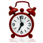 Small red retro alarm clock — Stock Photo #9728653
