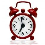 Small red retro alarm clock — Stock Photo