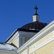 Old wooden church and blue sky — Stock Photo