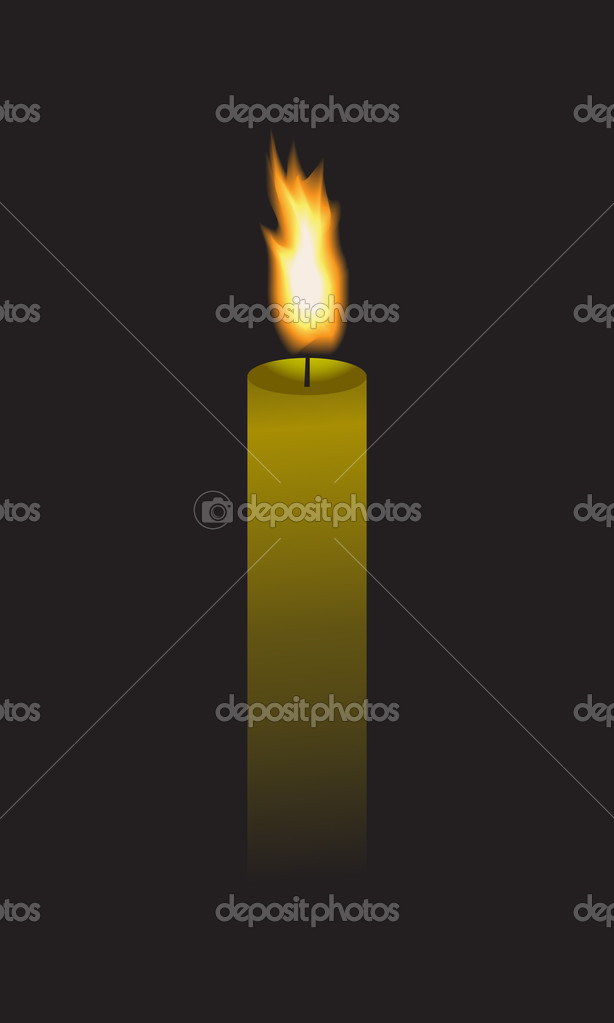 Long candle that burns in the dark. — Stock Vector #10375789