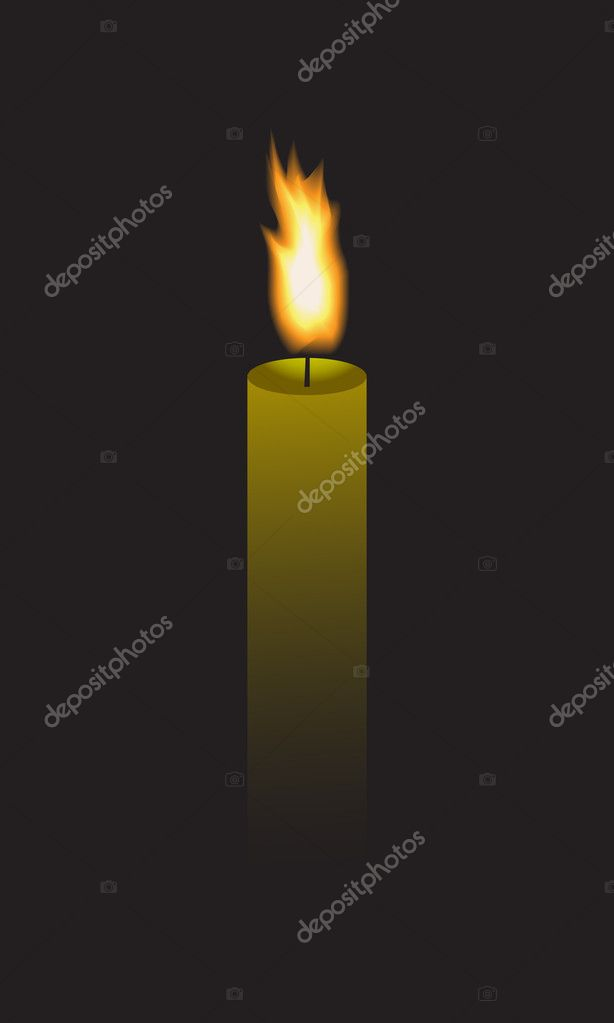 Long candle that burns in the dark. — Stock Vector #9747038