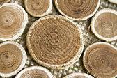Prachtige houten cirkels op een stof — Stockfoto