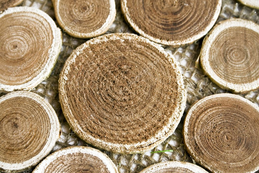 Beautiful wooden circles on a brown fabric — Stock Photo #9795456