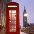 London Telephone Booth and Big Ben — Stock Photo #10230764