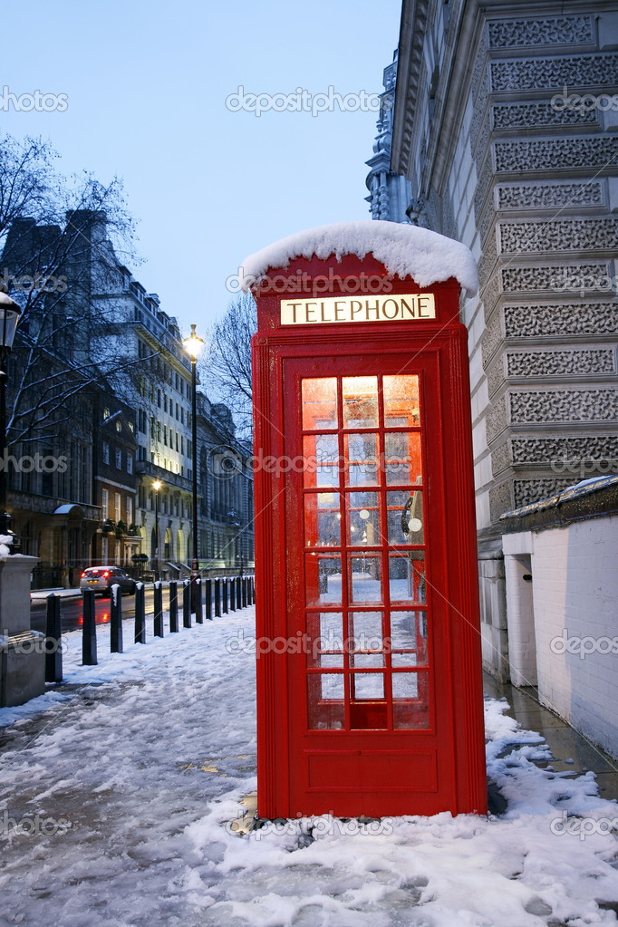 London Red Telephone Booth at dawn — Stock Photo #10230726