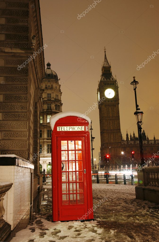 London Red Telephone Booth and Big Ben in the Distance.  Stock Photo #10230738