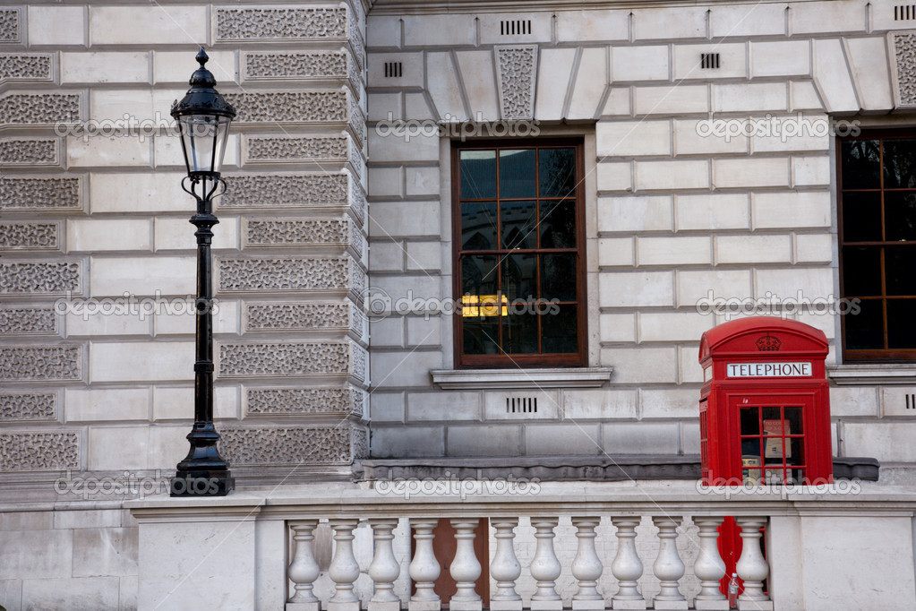 London Red Phone Booth around parliament square — Stockfoto #10232153
