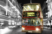 Double Decker Bus at Night — Stock Photo