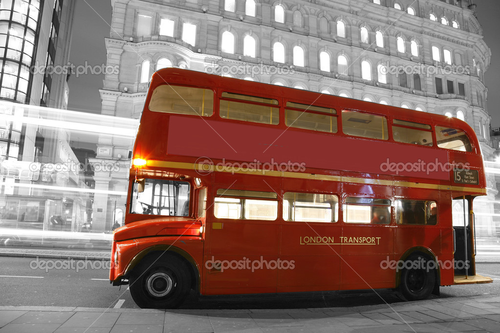 Route Master Bus in the street of London. Route Master Bus is the most iconic symbol of London as well as London's Black cabs.  Stock Photo #10279760