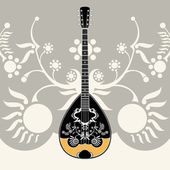 Gestileerde griekse folk muziekinstrument met decoratieve achtergrond — Stockvector