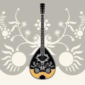 Instrumento musical folclórica griega estilizado con fondo decorativo — Vector de stock