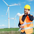 Technician Engineer in Wind Turbine Power Generator Station — Foto de Stock