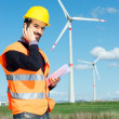 Technician Engineer in Wind Turbine Power Generator Station — Stock Photo #10216635