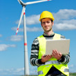 Technician Engineer in Wind Turbine Power Generator Station — Stock Photo #10411464
