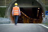 Man in front of tunnel — Stock Photo