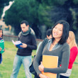 Multicultural College Students at Park — Stock Photo