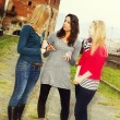 Three Women Chatting Outdoor — Stock Photo