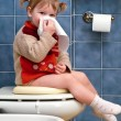 Child on the toilet — Stock Photo #10035774
