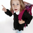 Schoolgirl with backpack — Stock Photo