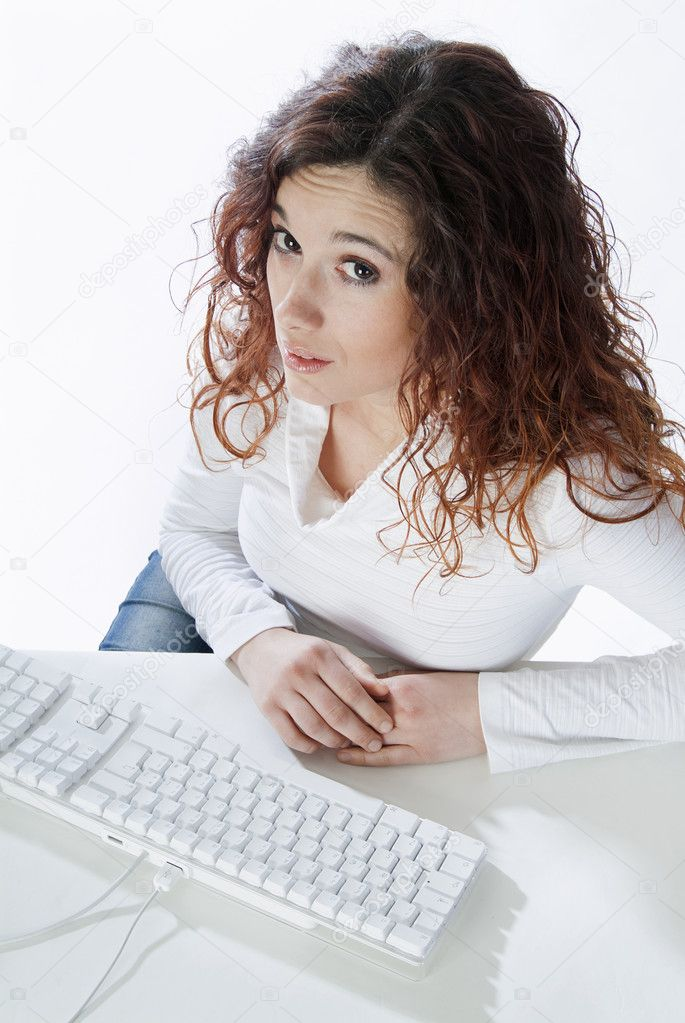 Businesswoman disconsolate view from the bottom to the top  Stock Photo #10498983