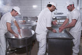Dairymen, who prepare the mozzarella — Foto de Stock