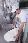 Dairymen, who prepare the mozzarella — Stock Photo