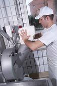 Dairymen, who prepare the mozzarella — Stock Photo