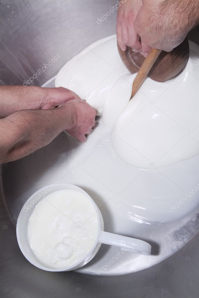 Processing steps in a dairy industry that produces cheese, mozzarella — Stock Photo #9991809