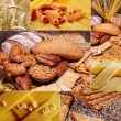 Beautiful bread and pasta collage — Stock Photo