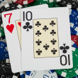 Bluff poker cards with chips — Stock Photo