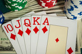 Winning with royal flush in casino — Foto de Stock
